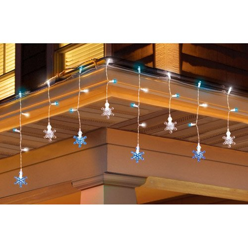 Holiday Time 30 Count Color Change Snowflake And Icicle Christmas Lights, Blue/White