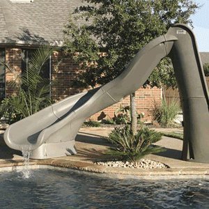 Pool Slides:Left Turbo Twister in grey Granite Images