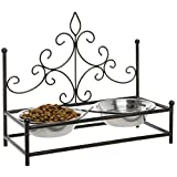 Luxury Vintage Black Victorian Style Metal Elevated Feeding Station for Pet Dogs with Food & Water Bowls