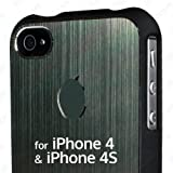 Brushed Aluminium 2-piece Machined Metal Hard Case for Apple iPhone 4 & 4S - with free screen protector & cleaning cloth (Gun Metal Grey)
