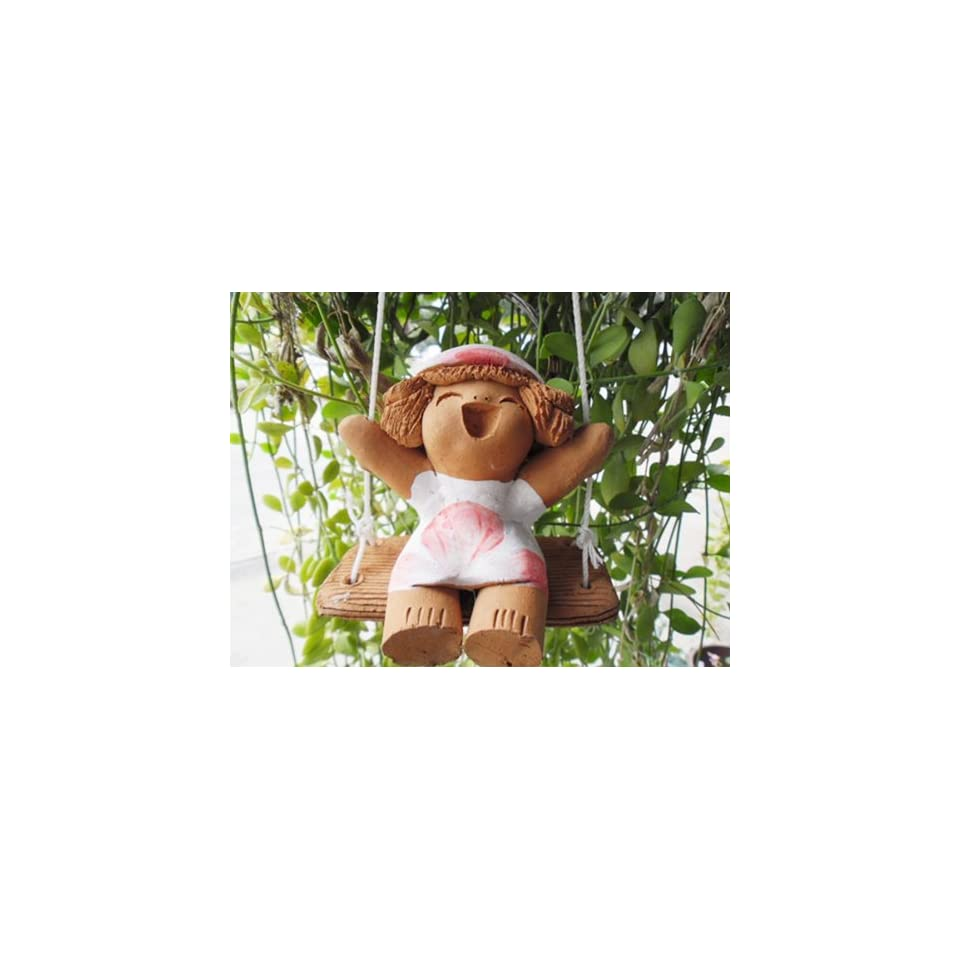 JJM Baby Doll Red Ribbon Garden Statures , Dollhouse Indoor/outdoor Clay Doll