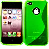 S-Line Gel Case Cover Shell For Apple iPhone 4 4S / Matte Green
