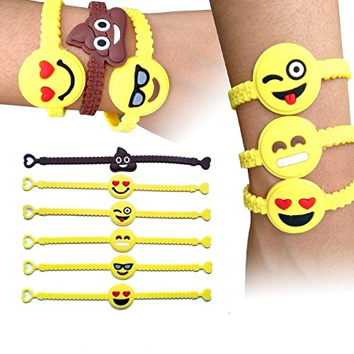 Emoji-Rubber-Wristband-SYZ-Novelty-Toy-Smile-Emoticon-Slap-Bracelets-Face-Emotion-Silicone-Wristband-Party-Favors-for-Children-in-Any-Summer-Time-Backyard-12-PACK