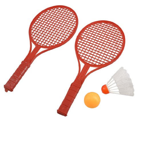 3 in 1 Red Plastic Badminton Racket Table Tennis Shuttlecock Set for Children