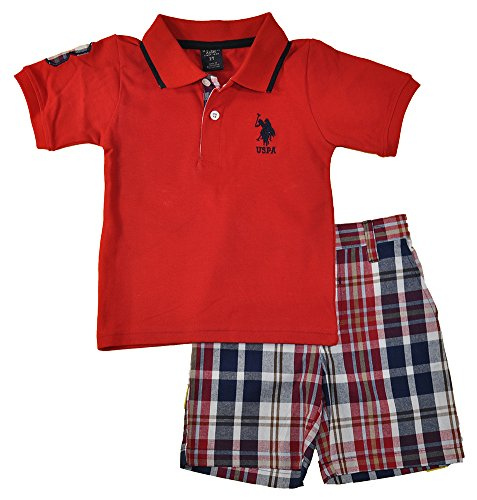 U.S. Polo Assn. Toddler Boys 2 Piece Big Pony Solid Pique Polo Shirt and Plaid Short, Red, 4T