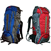 Gleam 2209 Mountain Rucksack / Hiking / Trekking Bag / Backpack 75 Ltrs ( Royal Blue & Red Set Of 2 Bags ) With...