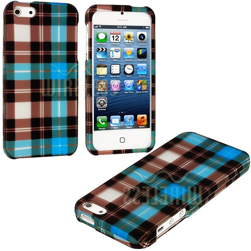 "myLife (TM) Blue Checkered Plaid Series (2 Piece Snap On) Hardshell Plates Case for the iPhone 5/5S (5G) 5th Generation Touch Phone (Clip Fitted Front and Back Solid Cover Case + Rubberized Tough Armor Skin + Lifetime Warranty + Sealed Inside myLife Authorized Packaging) ""ADDITIONAL DETAILS: This two piece clip together case has a gloss surface and smooth texture that maximizes the stylish ap at Amazon.com"