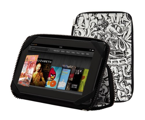 "PUNCHCASE By Leslie Hsu Ace Zip Around Standing Case, ""Color Me"" Graffiti - Made for Kindle Fire (will not fit HD or HDX models)"
