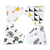 Baby Bandana Drool Bibs for Teething and Feeding, 4 pack Absorbent Cotton Modern Baby Gifts Set of Unisex Super-Stylish by Airbay