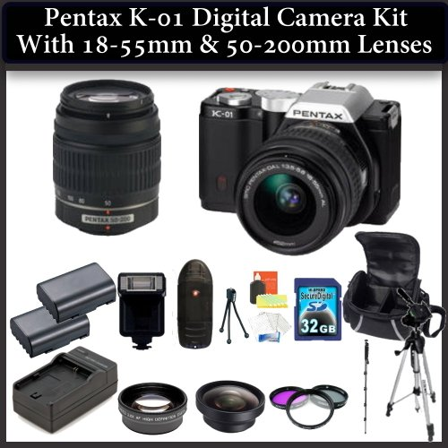 Pentax K-01 Digital Camera Kit. Package Includes: Pentax K-01 with 18-55mm & 50-200mm Lenses (Black), 0.45X Wide Angle Lens, 2X Telephoto Lens, 3 Piece Filter Kit(UV-CPL-FLD), 32GB Memory CArd, 2 Extended Life Replacement Batteries and More..!
