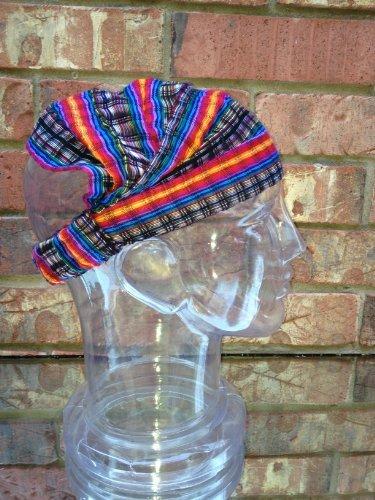 Medium Rainbow Black Headband Expandable Cotton Hair Scarf front-463479