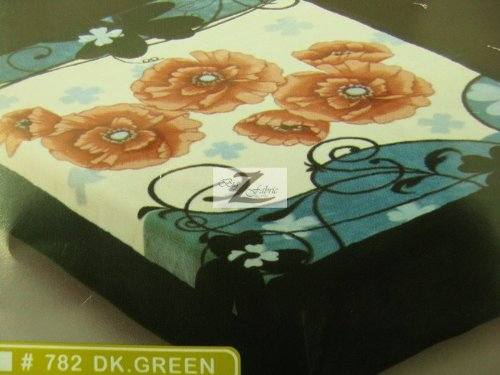 Floral Super Soft Bedding Blanket Throw Microplush - Dark Green Twin Size -Two Ply Sided New #782 front-959539