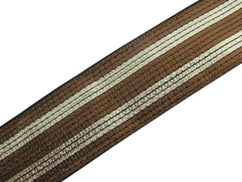 4.5 Yd Metallic Bronze Gold Jacquard Ribbon Border Trim Lace