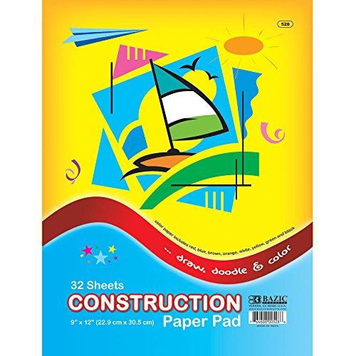 "BAZIC 32 Ct. 9"" X 12"" Construction Paper Pad - 1"