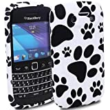 JJOnline BlackBerry Bold 9790 - Black / White Paws Puppies Footprint Silicone Gel Mobile Phone Case Cover