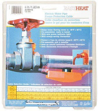 Easy Heat Water Pipe Heating Cable 6 ' 120 V 7 W/'