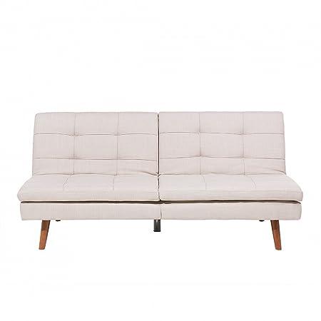 Divano letto moderno imbottito in tessuto beige - RONNE