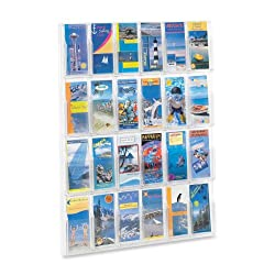 Safco Plastic Literature Display, 24 Pamphlets, 30 Inches Width x 41 Inches Height, Clear (5601CL)