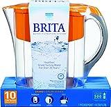 Brita Grand Water Filter Pitcher, Orange, 10 Cup