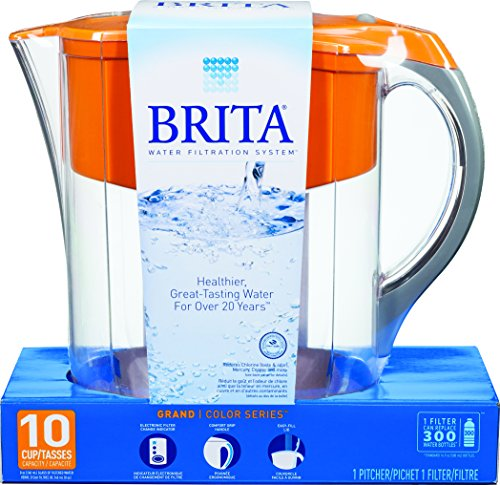 Brita Grand Water Filter Pitcher, Orange, 10 Cup (Brita Orange Grand Pitcher compare prices)