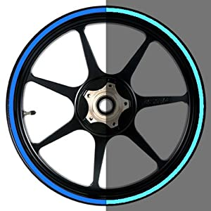 16 to 19 inch Reflective Blue Motorcycle, Scooter, Car & Truck Wheel Rim Stripes