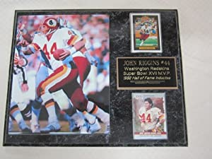 John Riggins Washington Redskins 2 Card Collector Plaque w 8x10 Photo by J & C Baseball Clubhouse