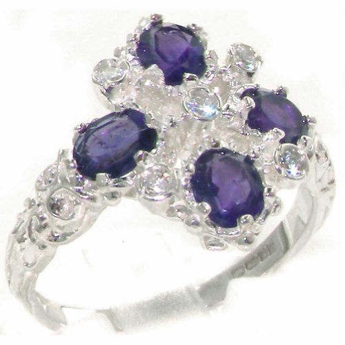 9K White Gold Womens 0.10Ct Diamond & Amethyst Ring - Size 7.25 - Finger Sizes 4 To 12 Available - Suitable As An Anniversary Ring, Engagement Ring, Eternity Ring, Or Promise Ring