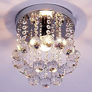 BEIYI R0819 Crystal Droplets Silver Chrome Ceiling Pendant Light Modern Chandelier Fitting by BEIYI HOME
