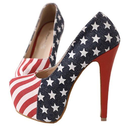 Moonar Career Darkblue Women American Flag Star High Heel Party Shoes Pump US Size 5-9