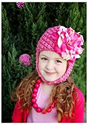 Jamie Rae Hats- Candy pink pretty pixie with pink and raspberry large peony
