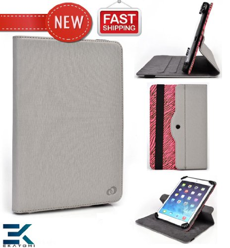 Acer Iconia A1-830 Envelope   Universal 360 Degree Rotating 7-inch Tablet Comprise with Stand - GREY & PINK ZEBRA. Compensation Ekatomi Screen Cleaner