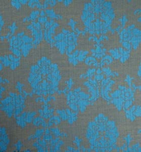 Amazon Com Teal Blue Madagascar Damask Upholstery