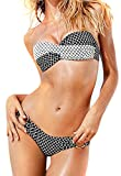 akee Ultra Sexy Bikini Set Hot New Black and White /Twist Push Up Top /Gold Ring Bottom blackwhite M thumbnail
