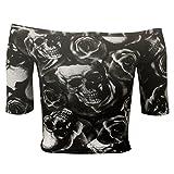 Home of Fashion Womens Black White Skull Rose Print Slim Fit Bardot 3/4 Sleeve Crop Top Size 14