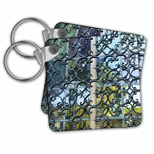 Florene Designer Texture - Wrought Iron and Stained Glass - Key Chains - set of 2 Key Chains (kc_37335_1)