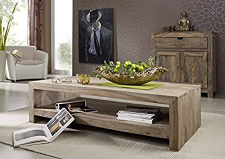 Madera de palisandro indio maciza muebles de centro 135 x 70 mango de Nature maciza Grey #11