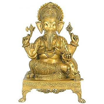 Gangesindia Lord Ganesh Brass Statue BS0009 (40.64 CM, 27.94 CM, 22.86 CM)