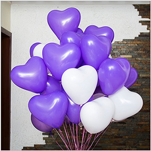 12 Inch Heart Shape Balloons for Party Decoration White & Purple 50/Pack (Justin Bieber Party Pack compare prices)
