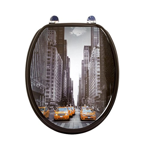 Carpemodo WC Sitz WC Deckel Klodeckel MDF robustem Holzkern Antibakteriell Scharniere verchromt Größe 43x36 cm Design NEW YORK