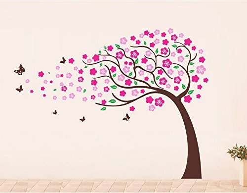 PopDecors - Flower Trees(71inch H) - Beautiful Tree Wall Decals for Kids Rooms Teen Girls Boys Wallpaper Murals Sticker Wall Stickers Nursery Decor Nursery Decals