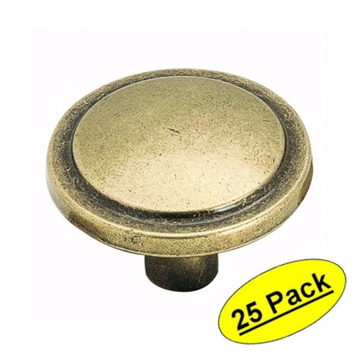 "Amerock BP3443-BB Burnished Brass Ring Cabinet Knob - 1-3/16"" Diameter - 25 Pack"