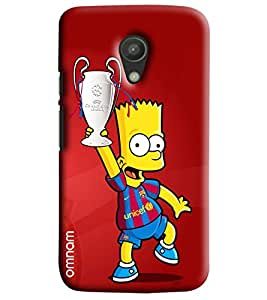 Omnam Cartoon Holding Football Cup Printed Designer Back Cover Case For Moto G2