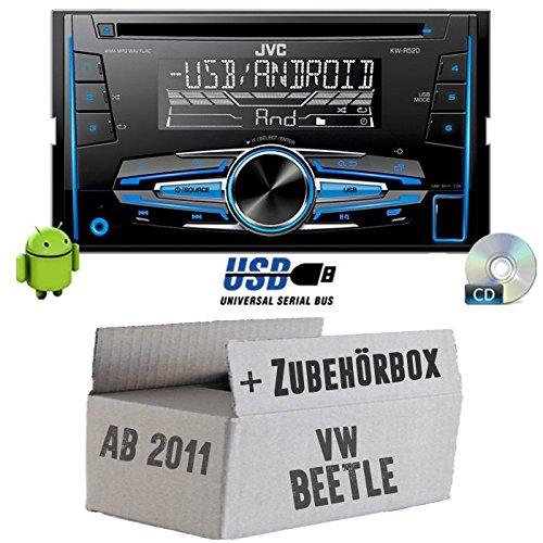 VW Beetle 25C-JVC KW R520E-Autoradio 2DIN Kit de montage encastré -