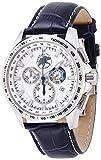 [ハンティングワールド]HUNTING WORLD 腕時計 クロノマジック シルバー文字盤 青革 10気圧防水 HW402BL メンズ 【正規輸入品】