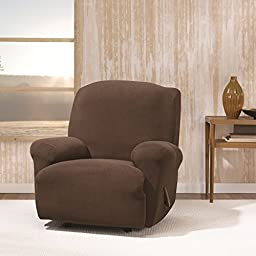 Single Piece Chocolate Recliner Chair Slipcover, Form Fitting Style, Solid Pattern, Polyester Spandex Fabric Material, Gorgeous Quality, Reupholstered Look, Machine Washable, Dark Brown