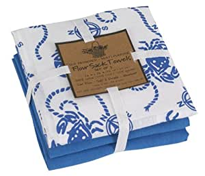Amazon.com: Flour Sack Dish Towel Set, Blue Crab and Solid