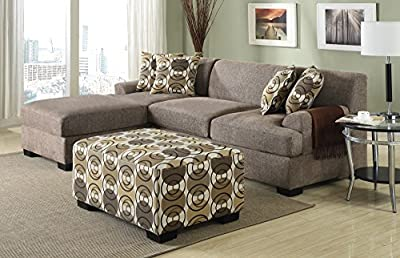 Poundex Montereal 2-Piece Chaise Sectional Collection Set with Faux Linen Fabric, Slate Color