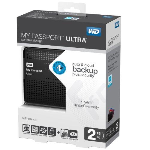 WD My Passport Ultra 2TB Portable External Hard Drive USB 3.0 with Auto and Cloud Backup - Black (WDBMWV0020BBK-NESN)
