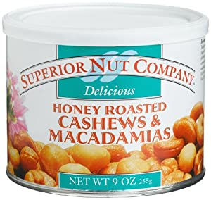 Superior Nut Honey Roasted Cashews & Macadamias, 9-Ounce Canisters (Pack of 6)