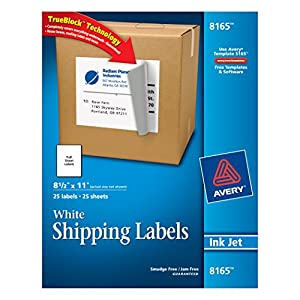 Avery® White Full-Sheet Labels for Inkjet Printers with  TrueBlock(TM) Technology, 8-1/2 inches x 11 inches, Pack of 25 (8165)